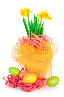 Easter Eggs And Spring Narcissus &x28;daffodil&x29; Royalty Free Stock Photo