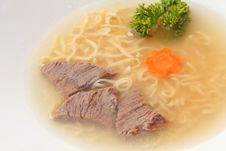 Beef Broth With Noodle Stock Photo