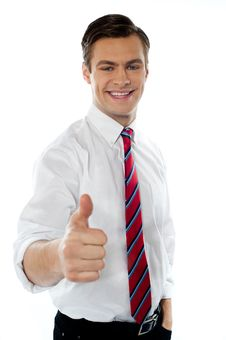 Free Business Executive With Thumbs Up Gesture Royalty Free Stock Image - 23732526