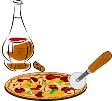 Free Pizza And Wine Royalty Free Stock Photo - 23732755