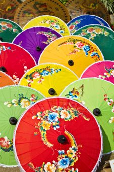 Free Pattern Of Thai Colorful Umbrellas Stock Images - 23734914