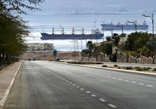 Street Running To The Red Sea, Eilat, Israel Stock Image