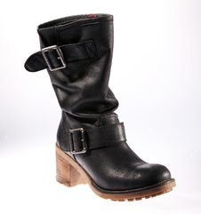 Free Black Leather Female Retro Boot Royalty Free Stock Photos - 23736838