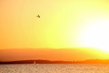 Free Sunset And Plane In The Lake Stock Images - 23747534