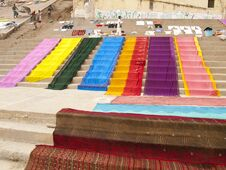 Cloth Drying On The Ghats At The Ganges River Royalty Free Stock Images