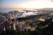 View Of Málaga S Port Stock Photo