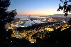 Free View Of Málaga S Port At Sunset Stock Image - 23740741