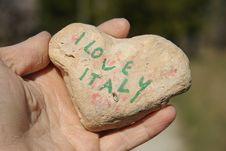 Free I Love Italy, Stone Heart On A Dry Hand Palm Stock Photos - 23741393