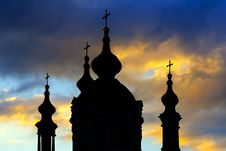 Free Silhouette Of St. Andrew Cathedral In Kiev Royalty Free Stock Images - 23746059