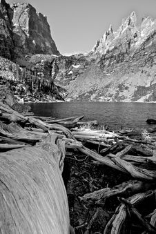 Emerald Lake In Black And White Royalty Free Stock Images