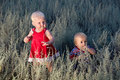 Free Kids Are Walking In A Field At Dusk Royalty Free Stock Photos - 23763838