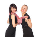 Free Two Pretty Women Smiling Standing In Black Dress Stock Photography - 23764802