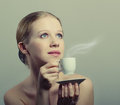 Free Beauty Young Woman Enjoying  Cup Of Coffee Royalty Free Stock Photos - 23767858
