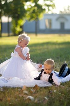 Free Children Dressed As Bride And Groom Royalty Free Stock Photo - 23763485