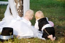 Free Children Dressed As Bride And Groom Stock Photos - 23763643