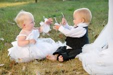 Free Children Dressed As Bride And Groom Stock Photos - 23763673