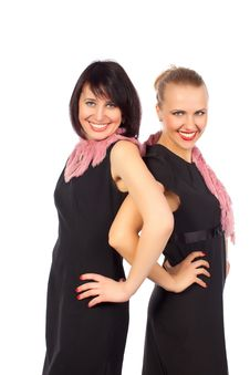 Free Two Pretty Women Smiling Standing In Black Dress Royalty Free Stock Photography - 23764747