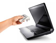 Free Laptop With Hand Give 100 Dollars, Earn Money Stock Photography - 23765882