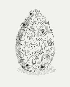 Doodle Egg Stock Photo