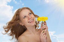 Beautiful Girl With Flowing Hair, Yellow Gerbera Stock Photos