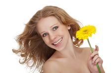 Beautiful Young Woman With Yellow Gerbera Fl Royalty Free Stock Image