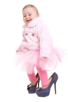 Free Happy Baby In The Shoes Of Adults Royalty Free Stock Image - 23769306