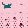 Free Seamless Polka Dot Background With Cat And Mouse Royalty Free Stock Image - 23773836
