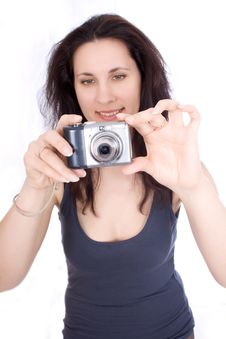 Woman With A Camera Takes Stock Photography