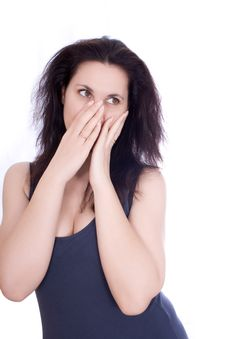 Free Scared Woman Hiding Herself In Her Hands Stock Photo - 23774700
