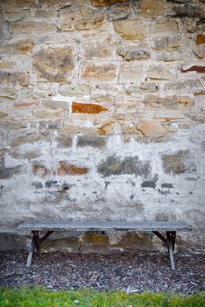 Free Bench And Stone Wall Stock Photo - 23779130