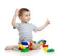 Free Little Cheerful Child With Construction Set Royalty Free Stock Photography - 23783967