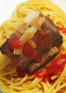 Meat And Spaghetti Stock Photo