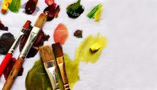 Free Paint Brushes And Different Paint Pigments Royalty Free Stock Image - 23780486