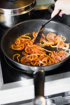 Fried Onion Rings With Tomato Sauce Royalty Free Stock Image
