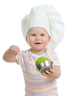 Funny Child With Green Apples Healthy Food Stock Images