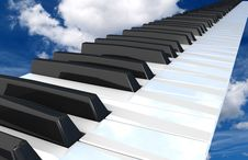 Free Piano  Flying In The Sky. Royalty Free Stock Image - 23786666