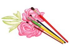 Free Paints And Brushes Royalty Free Stock Photo - 23787815