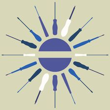 Free Screwdrivers Silhouettes Round Frame. Royalty Free Stock Photo - 23788015