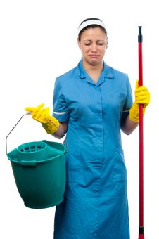 Free Pretty Cleaning Lady Crying Royalty Free Stock Photos - 23788298