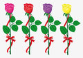 Free Four Color  Roses With  Red Bow And Ribbon Royalty Free Stock Photography - 23792367