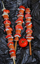 Free Three Sausage On A Skewer Royalty Free Stock Photo - 23798435