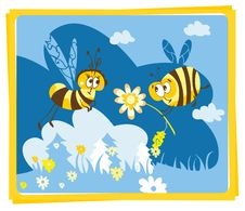 Free Spring Vintage Card With Bees Royalty Free Stock Image - 23793426