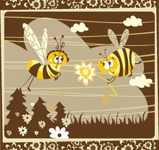 Free Spring Vintage Card With Bees Royalty Free Stock Image - 23793436