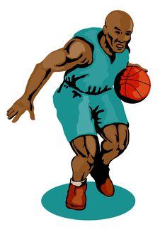 Free Basketballer Dribbling Green Royalty Free Stock Images - 2380719