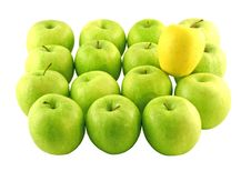 Free Green Apples And A Yellow One Royalty Free Stock Photo - 2382275