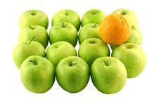 Free Green Apples And An Orange Stock Photo - 2382290