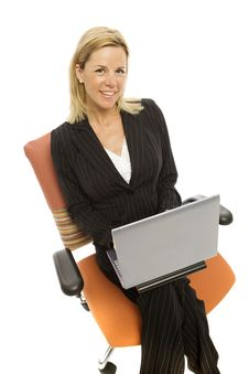 Businesswoman Sits Relaxing Stock Photo