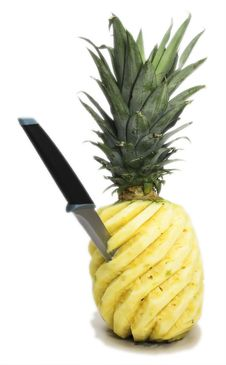 Free Pineapple With Jab Knife Stock Photography - 2386462