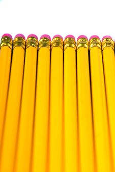 Row Of Yellow Pencils Royalty Free Stock Image