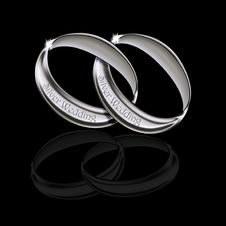 Free Silver Wedding Rings Royalty Free Stock Photography - 23802597